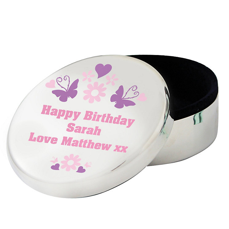 Personalised Butterfly Round Trinket Box - Product number 1438468