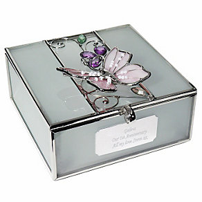 Engraved Butterfly Square Trinket Box - Product number 1438530