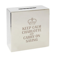 Engraved Keep Calm Square Money Box - Product number 1438557