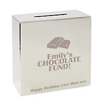 Engraved Chocolate Motif Square Money Box - Product number 1438573