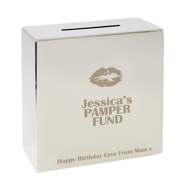 Engraved Lips Motif Square Money Box - Product number 1438581