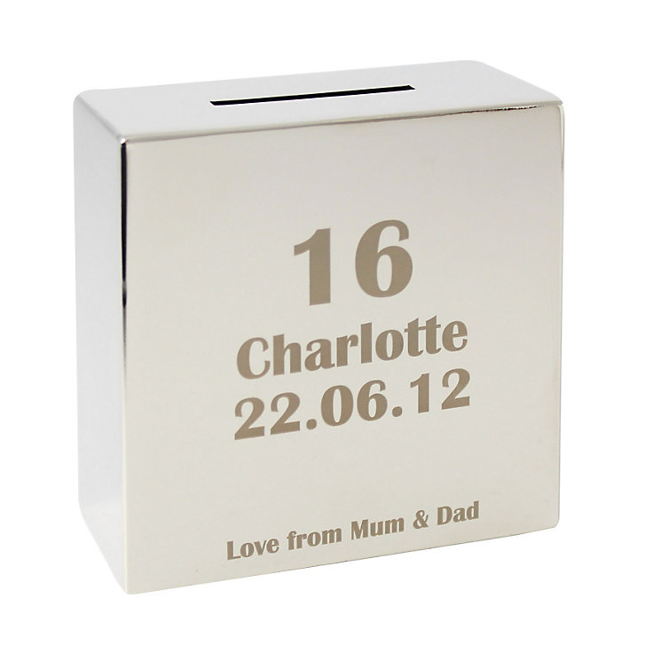 Engraved Age Design Square Money Box - Product number 1438603