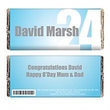 Personalised Blue Numbers Chocolate Bar - Product number 1438913