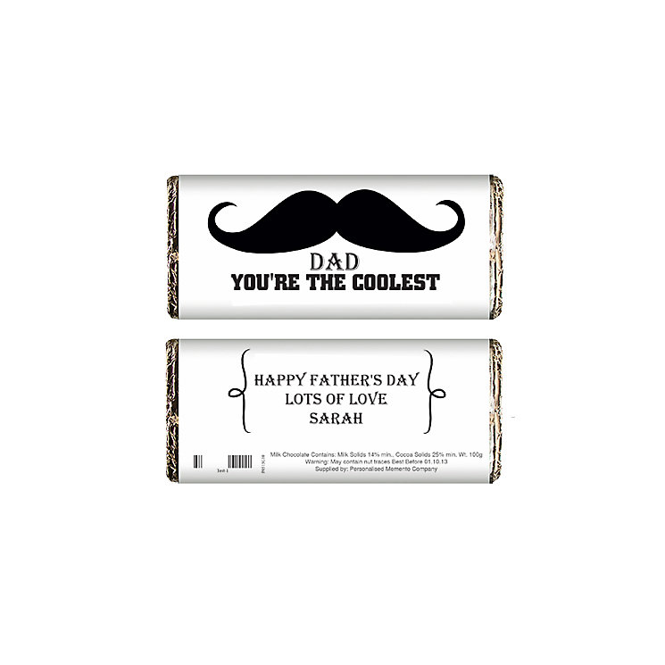 Personalised Moustache Chocolate Bar - Product number 1438980