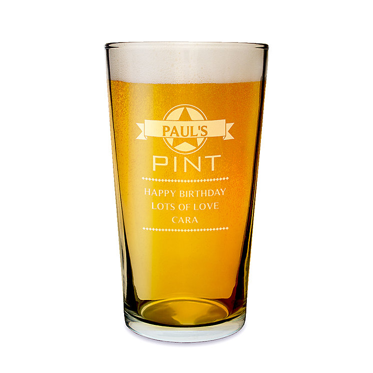 Engraved Diamond Pint Glass - Product number 1439235