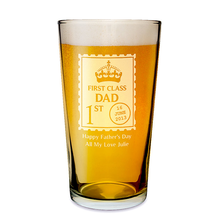 Engraved First Class Pint Glass - Product number 1439243