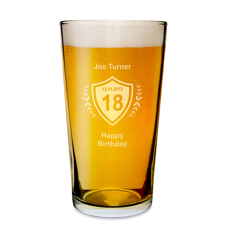 Engraved Age Crest Pint Glass - Product number 1439316