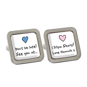 Personalised Pink and Blue Heart Cufflinks - Product number 1440535