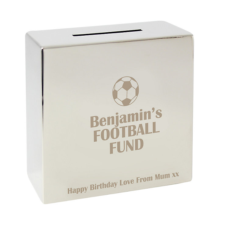Engraved Football square Money box - Product number 1440713