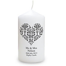 Personalised Black Damask Heart Candle - Product number 1441361