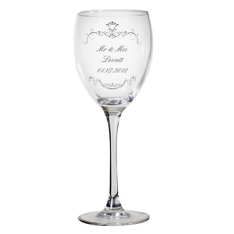 Personalised Ornate Swirl Wine Glass - Product number 1441396