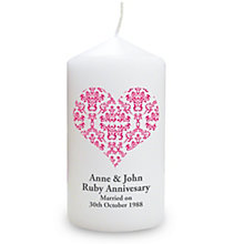 Personalised Red Damask Heart Candle - Product number 1441434