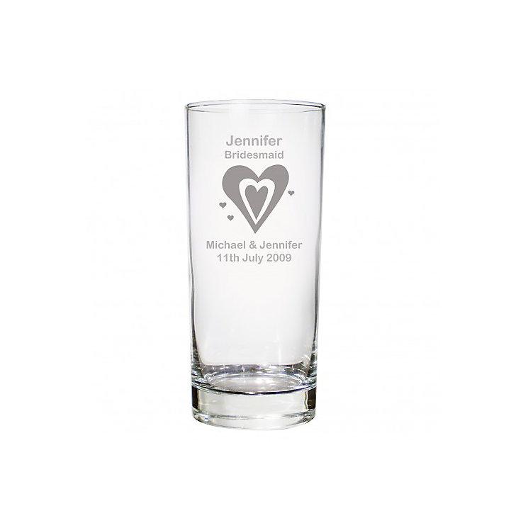 Personalised Designer Heart Motif Hi Ball Glass - Product number 1441671