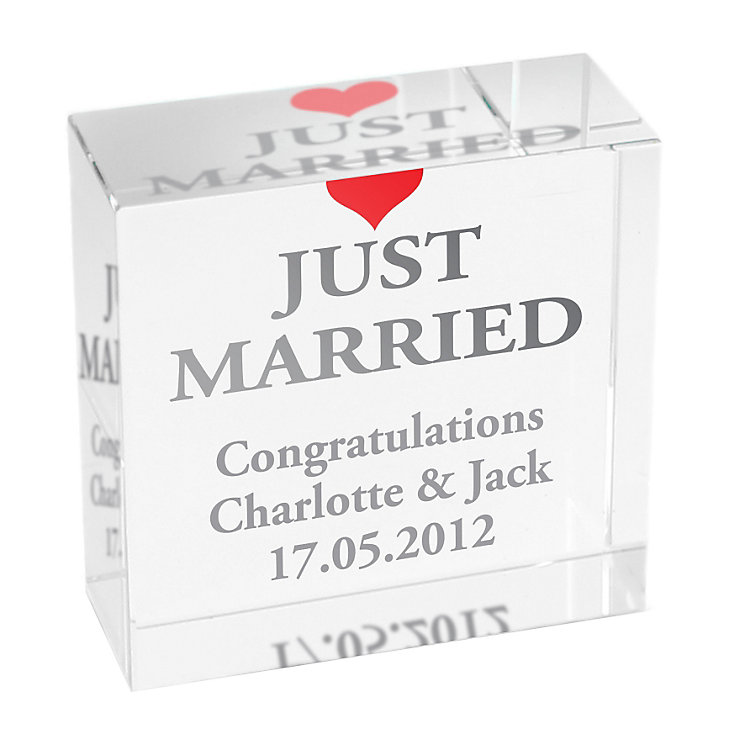 Personalised Just Married Crystal Token - Product number 1441906