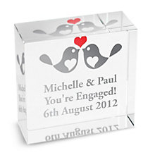 Personalised Love Birds Crystal Token - Product number 1441922