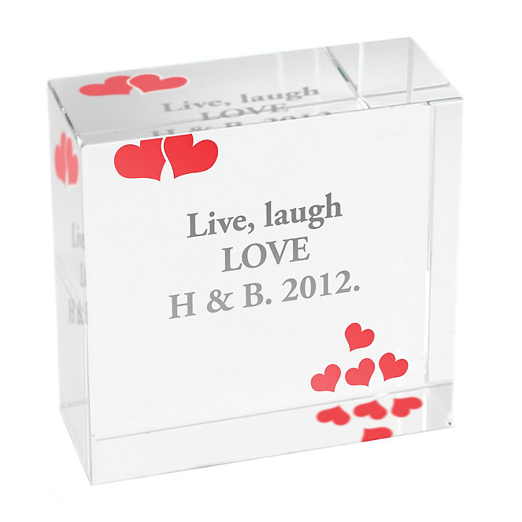 Personalised Red Hearts Crystal Token - Product number 1442015