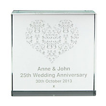 Personalised Damask Silver Heart Crystal Token - Product number 1442589
