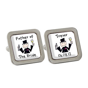 Personalised Cartoon Wedding Cufflinks - Product number 1442775