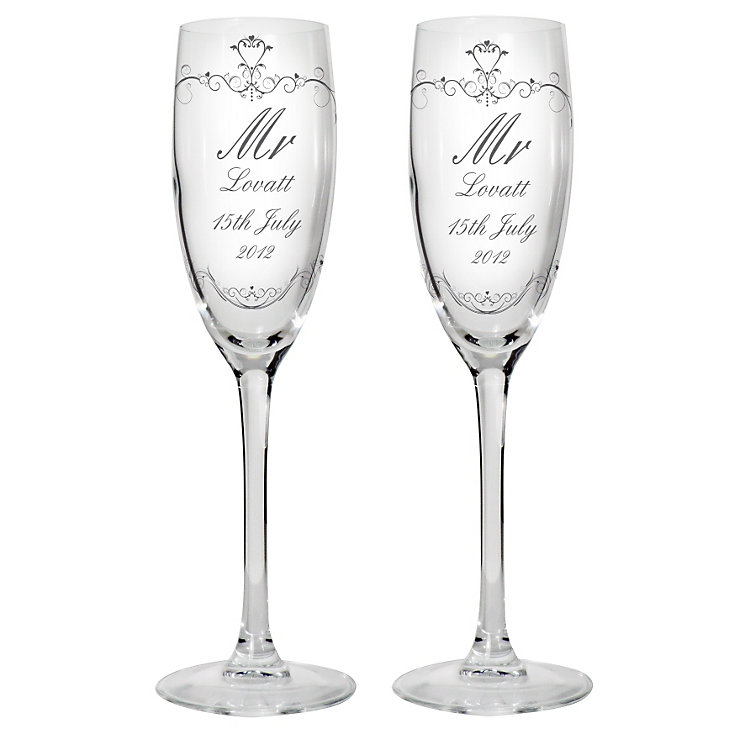 Personalised Ornate Swirl Couple Flute Set - Product number 1443178
