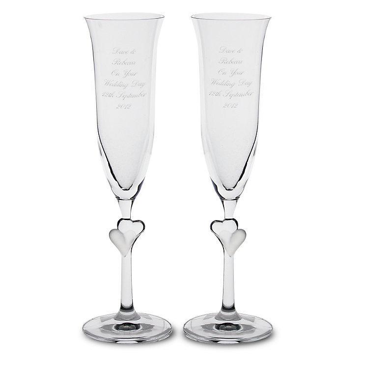 Personalised Glass Heart Stem Flutes - Product number 1443275