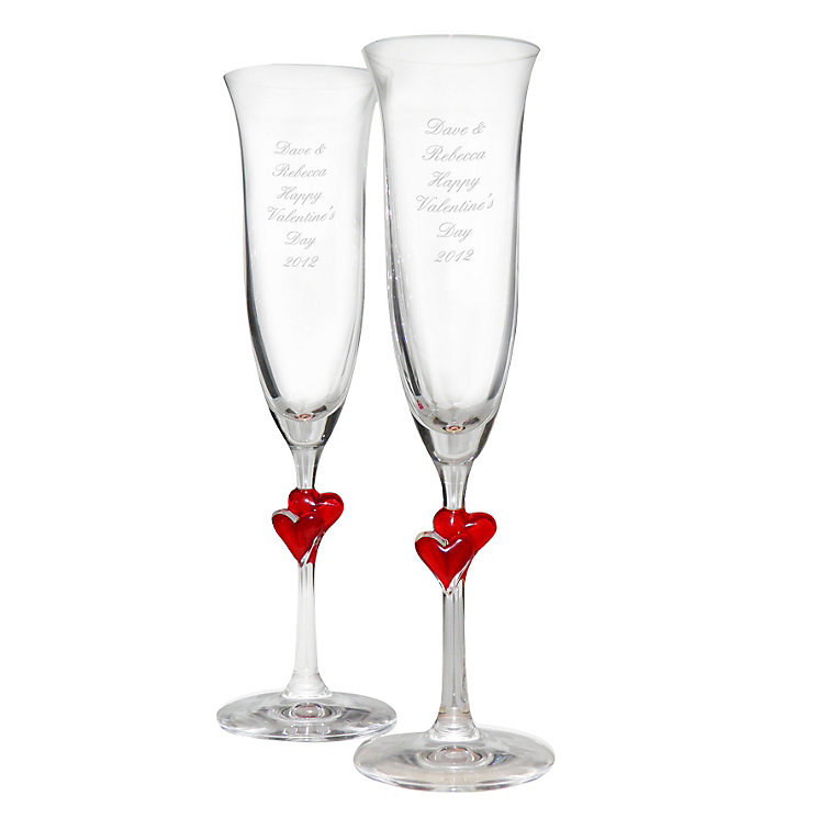 Engraved Red Heart Stem Champagne Flutes - Product number 1443674