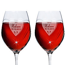 Engraved Swarovski Elements Wine Glasses-  Big Heart - Product number 1443968