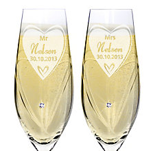 Engraved Swarovski Elements Flute Pair- Big Heart - Product number 1443992