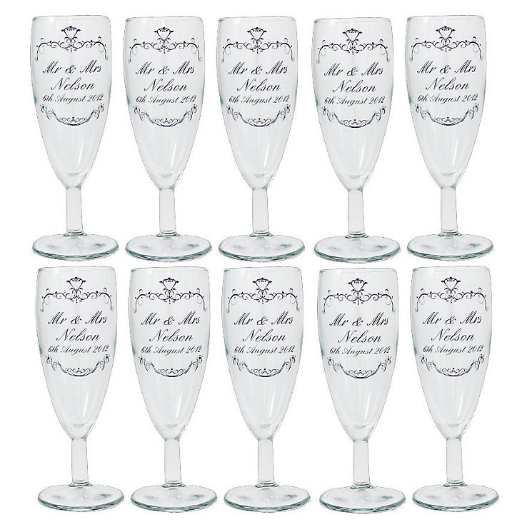 Personalised Ornate Swirl Wedding Toast Flute - Pack of 10 - Product number 1444077