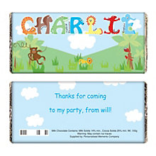 Personalised Blue Animal Alphabet Chocolate Bar - Product number 1444093