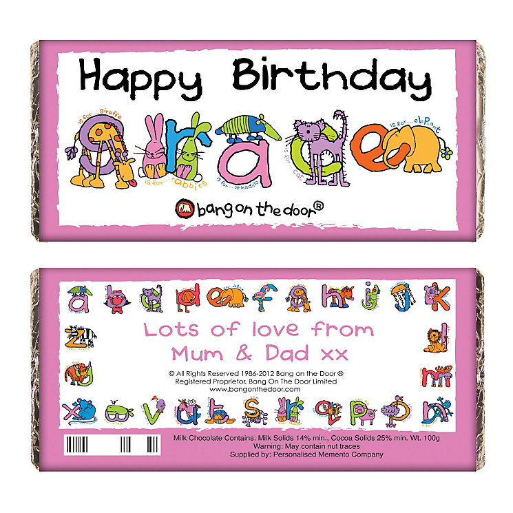 Personalised Bang On The Door Animal Alphabet Chocolate Bar - Product number 1444115