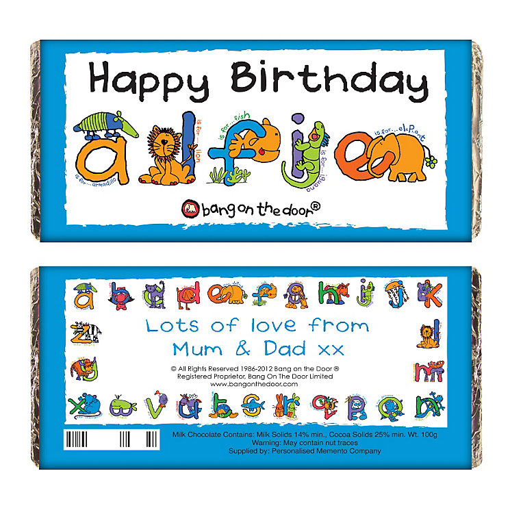 Personalised Bang On The Door Animal Alphabet Chocolate Bar - Product number 1444123
