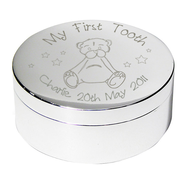 Engraved Teddy My First Tooth Trinket Box - Product number 1444301