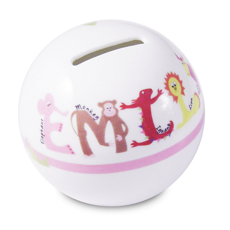 Personalised Pink Animal Name Money Box - Product number 1444549