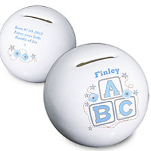 Personalised Blue ABC moneybox - Product number 1444611