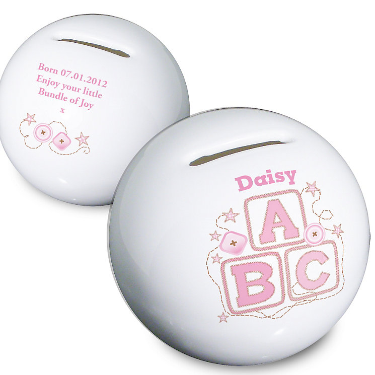 Personalised Pink ABC Money box - Product number 1444638