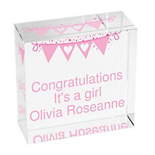 Personalised Pink Bunting Crystal Token - Product number 1444700