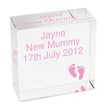 Personalised Pink Footprints Crystal Token - Product number 1444735