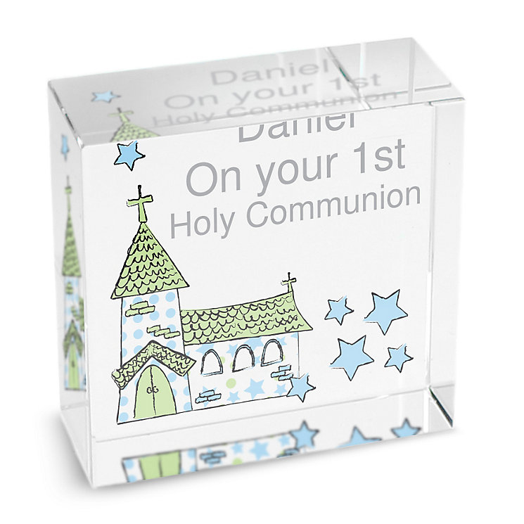 Personalised Blue Whimsical Church Crystal Token - Product number 1444794