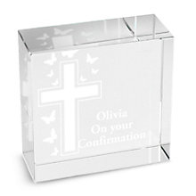 Personalised Cross And Butterflies Crystal Token - Product number 1444824