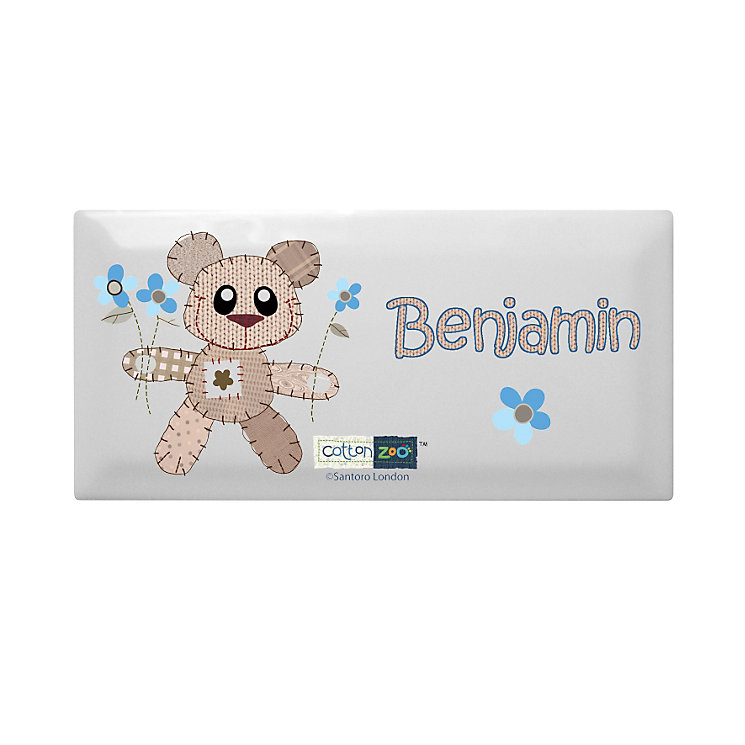 Personalised Cotton Zoo Tweed The Bear Blue Door Plaque - Product number 1444840