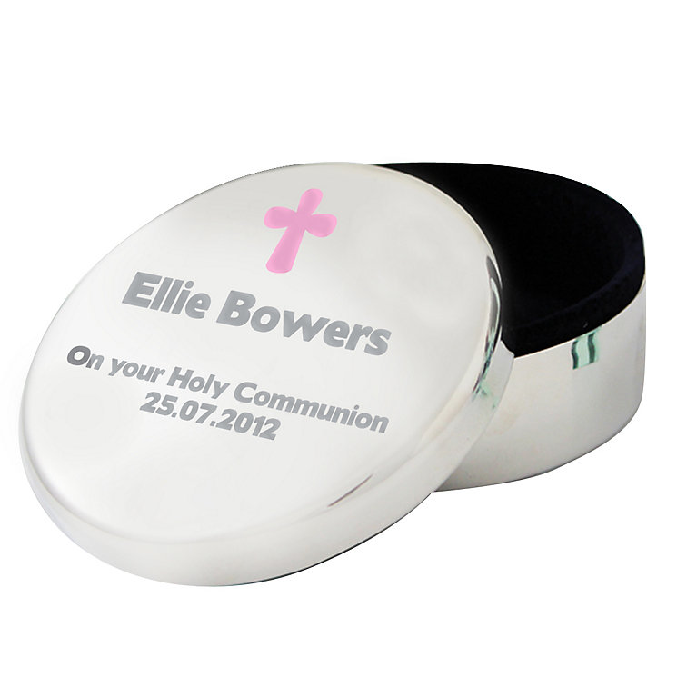 Personalised Pink Cross Round Trinket Box - Product number 1445375