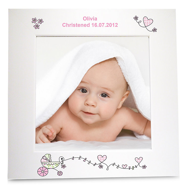 Personalised Pink Pram White 6x6 Frame - Product number 1445448