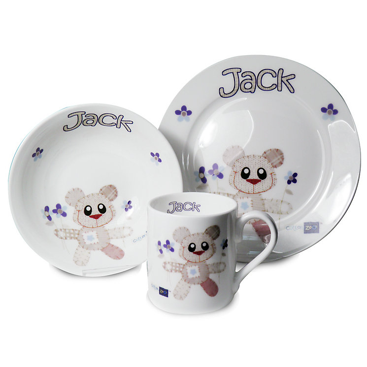 Personalised Cotton Zoo Tweed The Bear Blue Breakfast Set - Product number 1445979