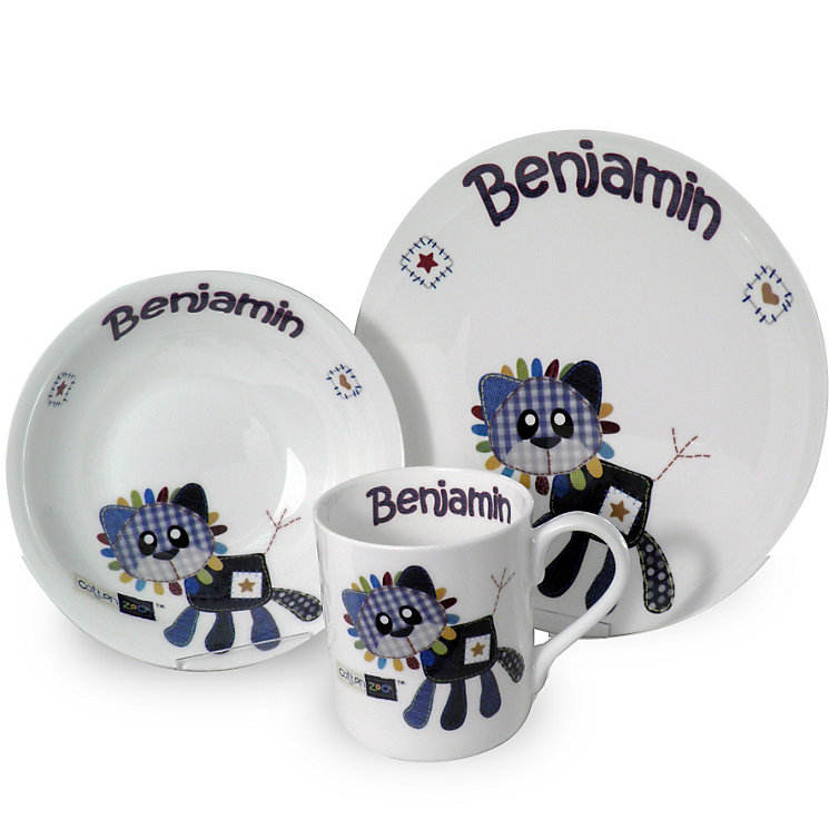 Personalised Cotton Zoo Denim the Lion Breakfast Set - Product number 1445995
