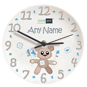Personalised Cotton Zoo Tweed The Bear Blue Clock - Product number 1446002