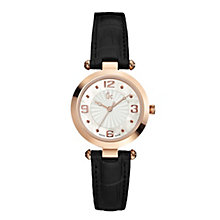 Gc Ladies' Rose Gold-Plated Black Leather Strap Watch - Product number 1446460
