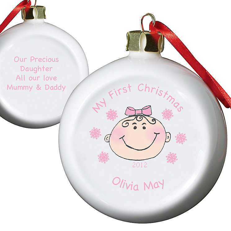 Personalised Baby Girl My First Christmas Bauble - Product number 1446479