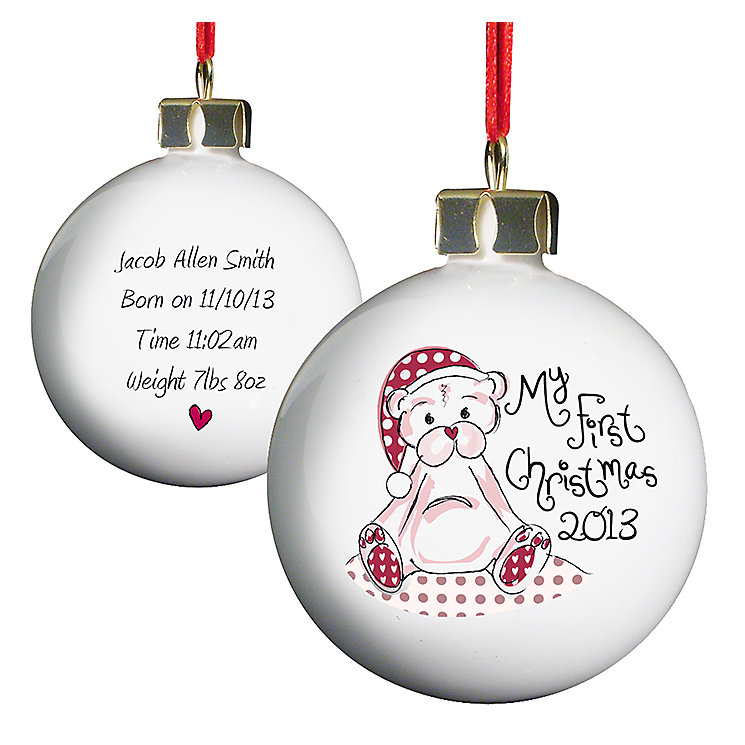 Personalised Cute Teddy My 1st Xmas Bauble - Product number 1446746