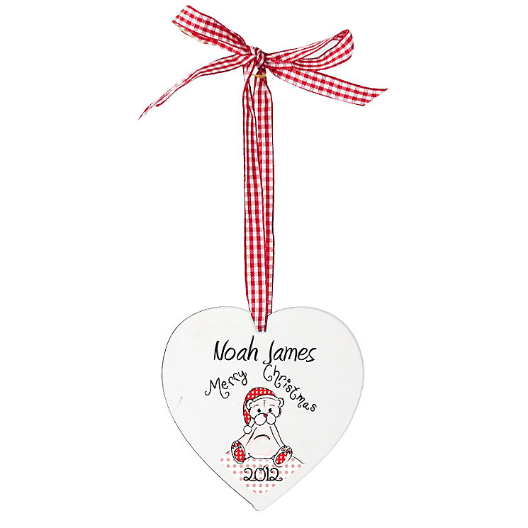 Personalised Christmas Teddy Wooden Heart Shaped Decoration - Product number 1446975