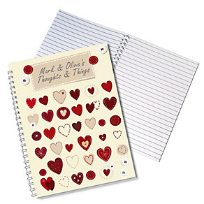 Personalised Fabric Hearts Design A5 Notebook - Product number 1447645